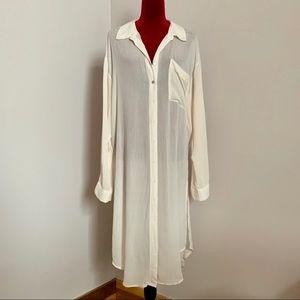 Forever 21 plisse button down shirt dress tunic